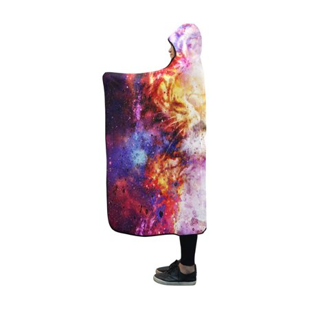 HATIART Hooded Blankets Magical Space Tiger Throw Wearable Anti-pilling Polar Fleece Blanket Wrap 50x60 inch - image 1 of 3