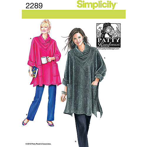 Simplicity Pattern Misses' Sportswear Loose-Fitting Tunic and Knit pants, (XS, S, M, L, XL, XXL)