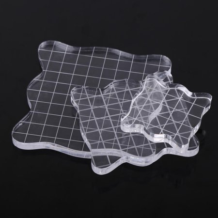 Tbest Acrylic Block, Acrylic Stamping Block,Transparent Clear Acrylic Block Pad for Scrapbooking Color Stamping Process Essential (These Clear Acrylic Stamps)