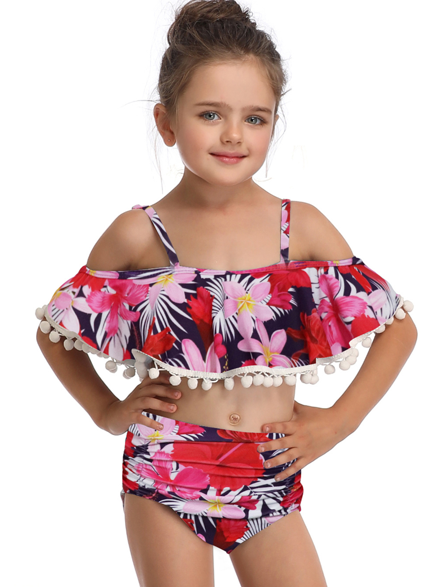 Mother Daughter Matching Swimsuit Floral High Waist Bikini Set for Women Girls