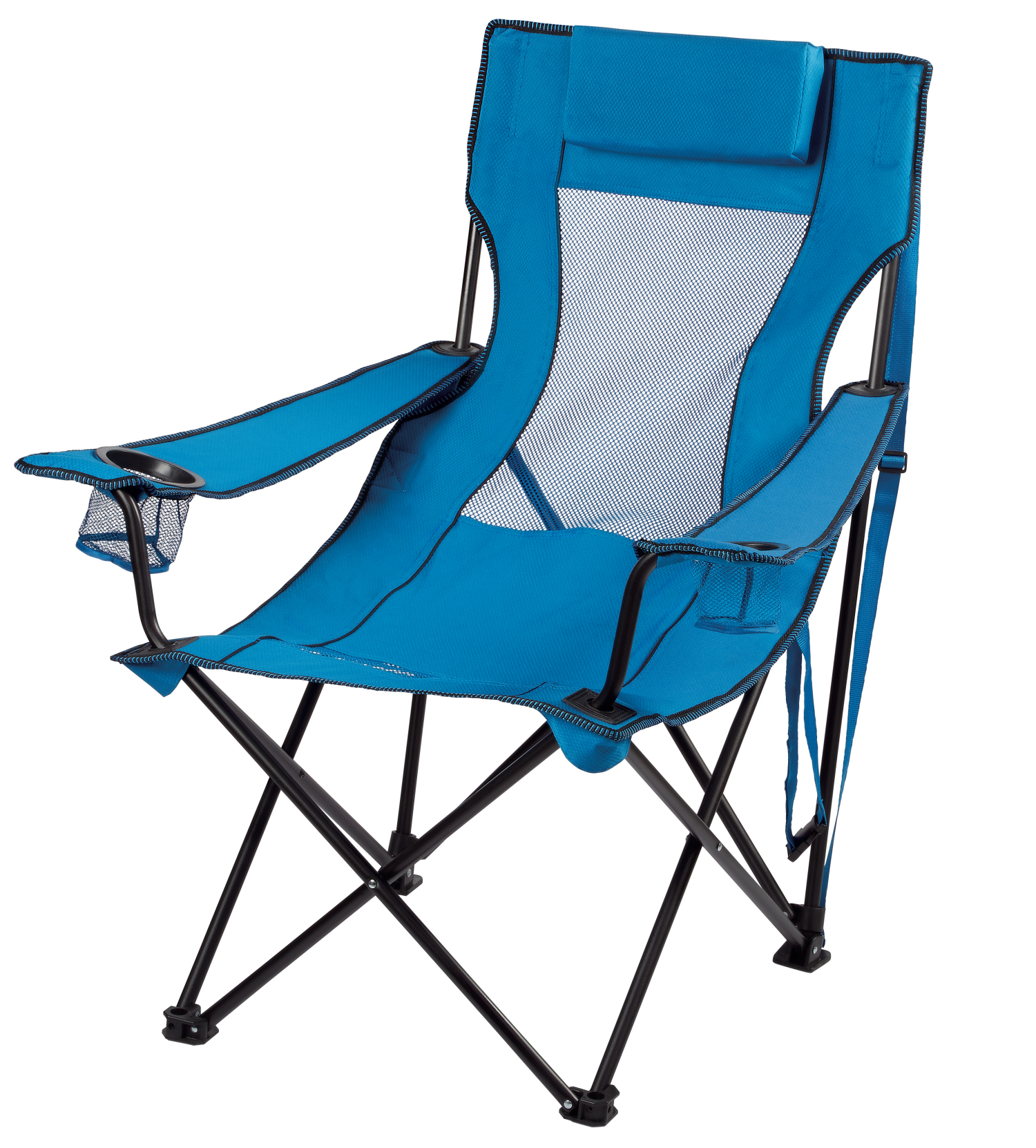Ozark Trail Folding Lounge Chair with 2 Cup Holders, Blue by Sunshine