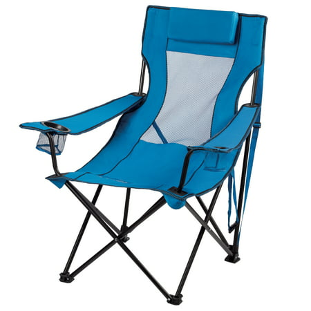 Ozark Trail Folding Lounge Chair With 2 Cup Holders  Blue