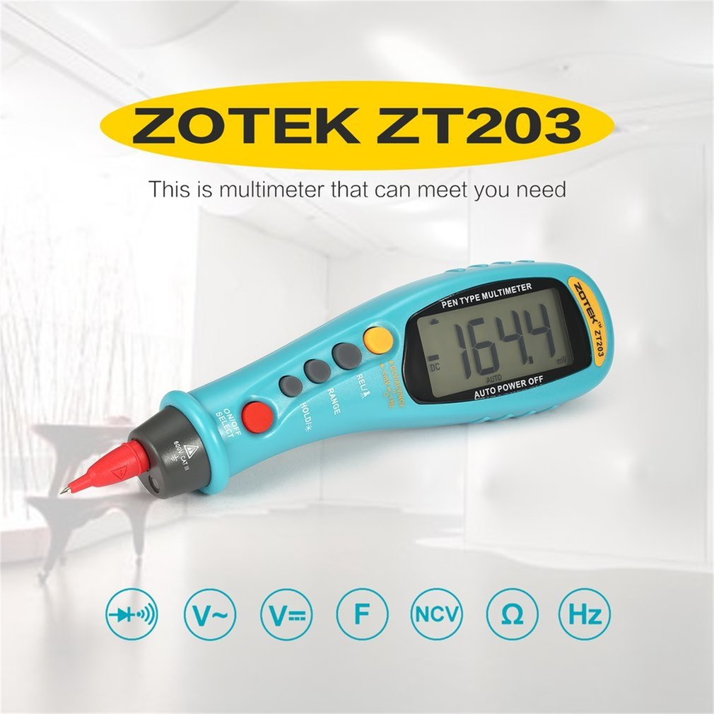 ZOTEK ZT203 6000 Counts Pen-type Digital Multimeter True RMS Auto Range DC/AC Voltage Meter Voltmeter with Backlight