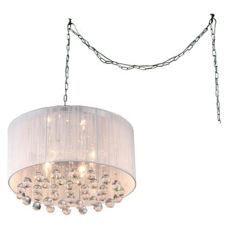 Warehouse of Tiffany Mineya 5-light White 17-inch Chrome Swag Lamp ()