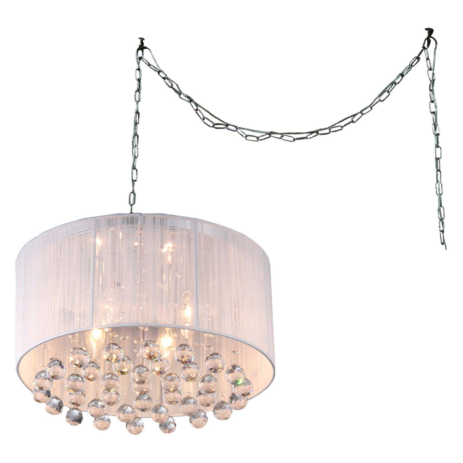 Warehouse of Tiffany Mineya 5-light White 17-inch Chrome Swag Lamp