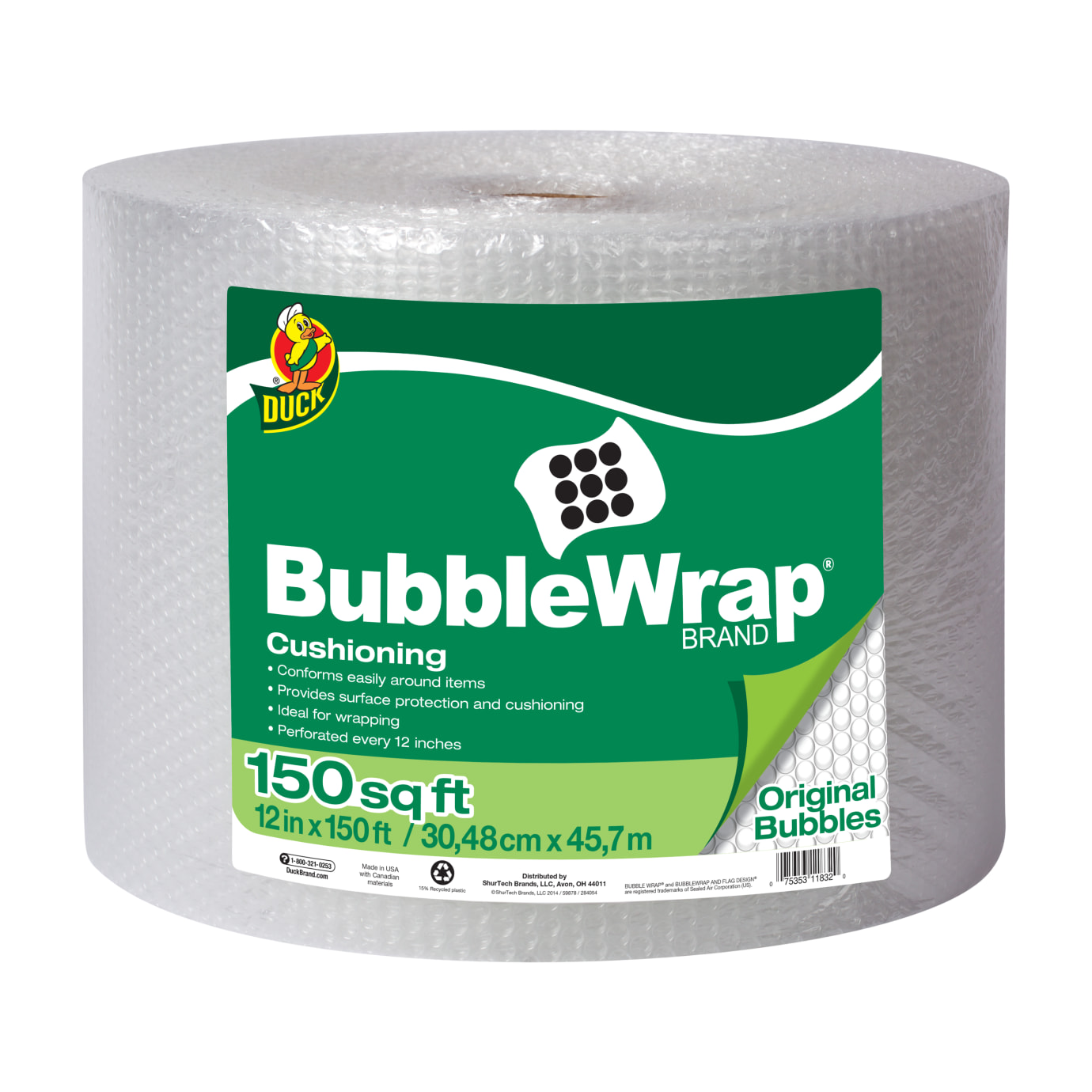 Duck Brand Original Bubble Wrap Cushioning - Clear, 12 in. x 150 ft.