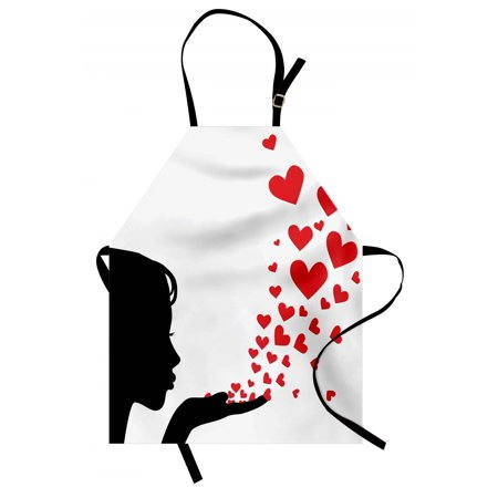 - Kiss Apron Pretty Girl Black Silhouette Blowing Red Hearts Romance Love Valentines Day Theme, Unisex Kitchen Bib Apron with Adjustable Neck for Cooking Baking Gardening, Black White Red, by Ambesonne