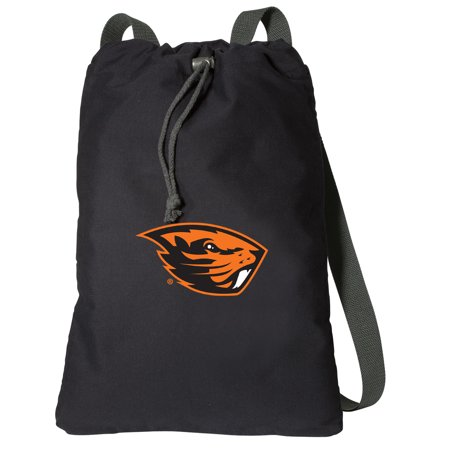 Canvas OSU Beavers Backpack Natural Cotton Oregon State University Cinch Bag Lined and with Wide Straps