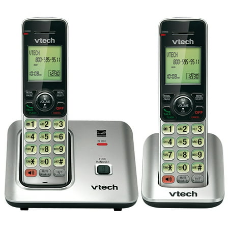 VTech CS6619-2 DECT 6.0 Expandable Cordless Phone with Caller ID/Call Waiting, Silver with 2 Handsets - Cordless - 1 x Phone Line - 1 x Handset - Speakerphone - Hearing Aid Compatible -