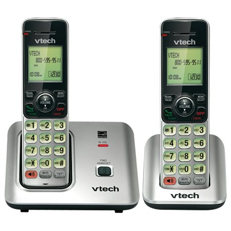VTech CS6619-2 DECT 6.0 Expandable Cordless Phone with Caller ID/Call Waiting, Silver with 2 Handsets - Cordless - 1 x Phone Line - 1 x Handset - Speakerphone - Hearing Aid Compatible - Backlight (Cordless Two Line Phone)