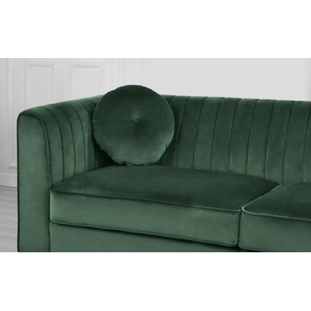 Living Room Traditional Sofa (Classic Traditional Living Room Marilyn Velvet Sofa Tufted Accent Pillows (Green) )