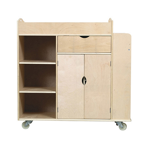 Guidecraft Art Equipment Activity 10 Compartment Teaching Cart with Casters