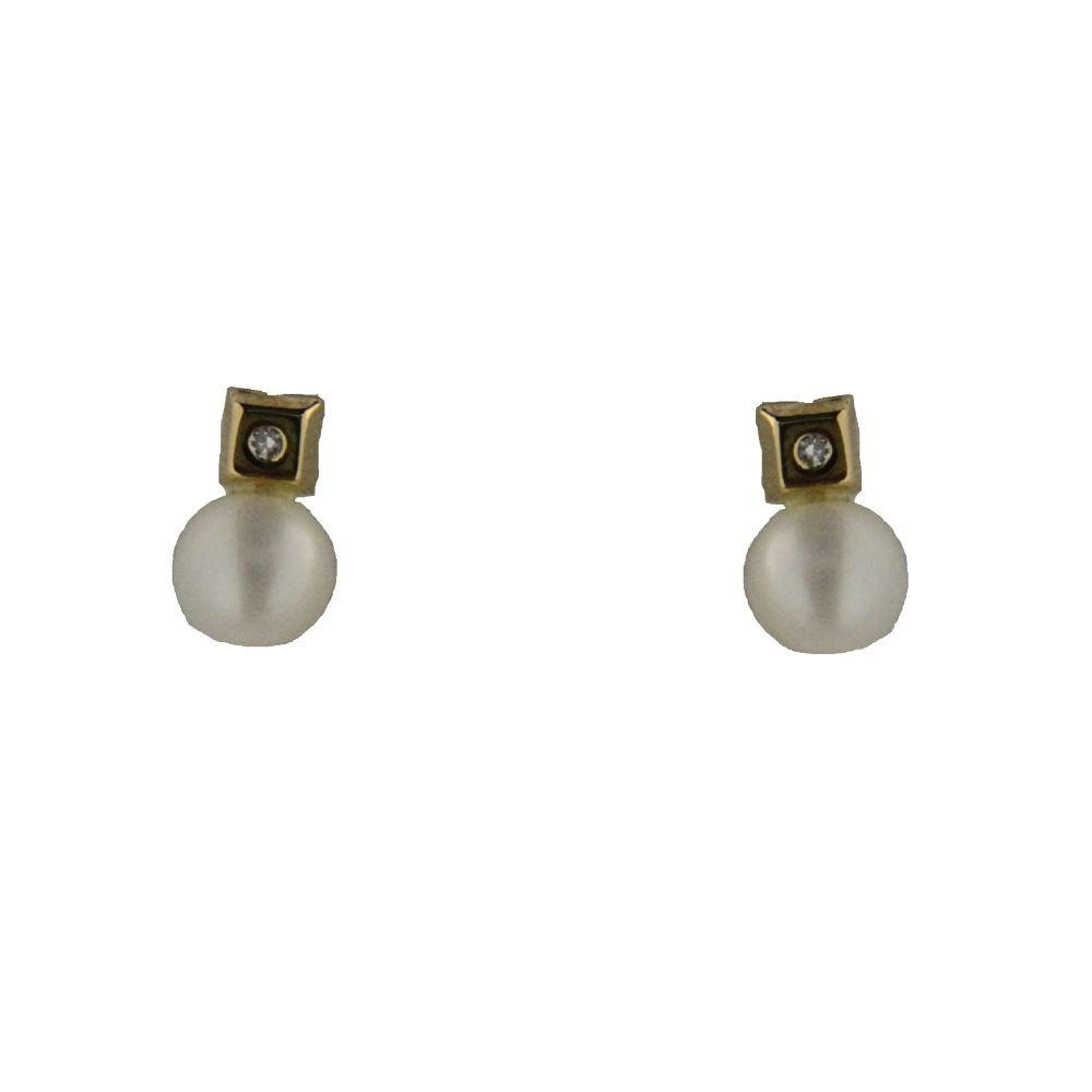 18K Yellow Gold square with diamond and pearl covered screwback earrings (pearl 4.8mm , 0.19 inch)) by