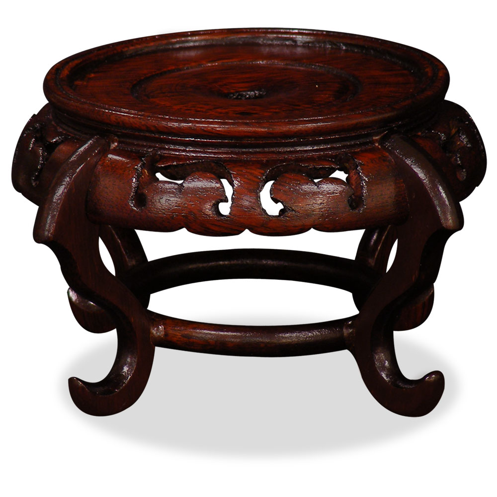 China Furniture and Arts Chinese Round Wooden Display Stand, 4 inch diameter by