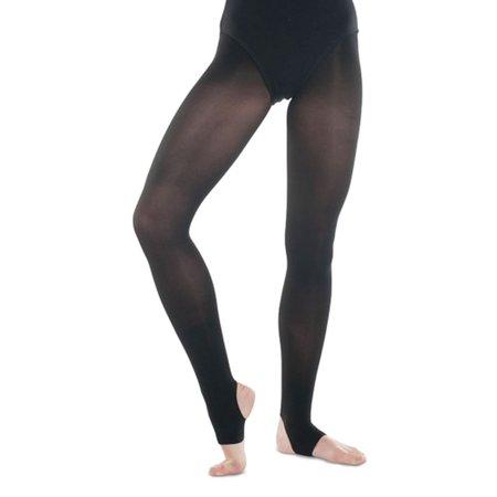 Danshuz Little Girls Black Stirrup Nylon Dance Tights Size 6x/14 Nylon Stirrup Leathers