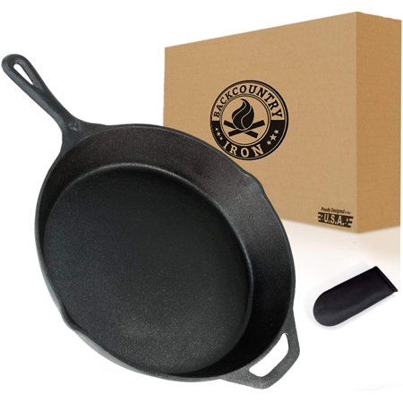 Backcountry Cast Iron Skillet(10 Inch Medium Frying Pan + Cloth Handle Mitt, Pre-Seasoned for Non-Stick Like Surface, Cookware Oven/Broiler/Grill Safe, Kitchen Deep Fryer, Restaurant Chef Quality) Cas ()