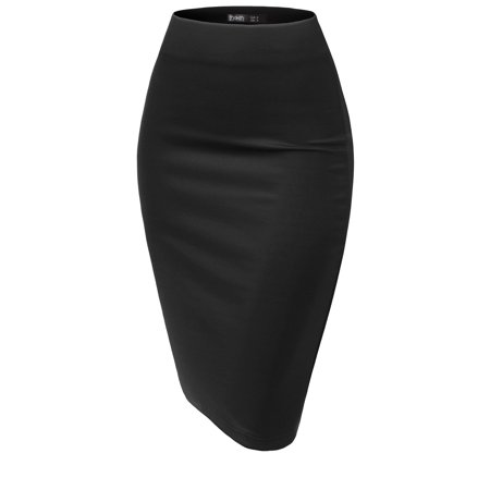 Thanth Basic Elastic Waist Band Streychy Solid Midi Pencil (Solid Running Skirt)