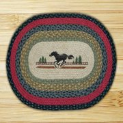 "Earth Rugs OP-238 Horse Design Rug, 20 x 30"", Burgundy/Olive/Charcoal"