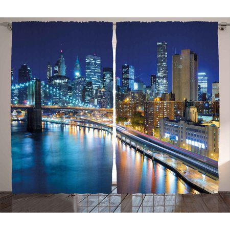 Landscape Curtains 2 Panels Set, View of Famous New York City Manhattan Bay Harbour at Night and Skyscrapers Print, Window Drapes for Living Room Bedroom, 108W X 108L Inches, Multicolor, by Ambesonne