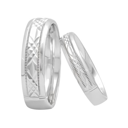His and Hers Sterling Silver Diamond Cut Matching Wedding Band Set – Two-piece - Set Band