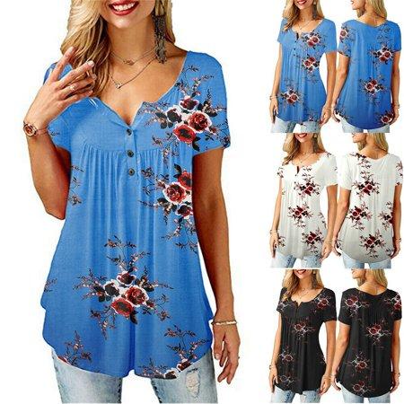 Capri Blouse - Womens Summer Floral V Neck Blouses Loose Baggy Tops Tunic T Shirts Plus Size