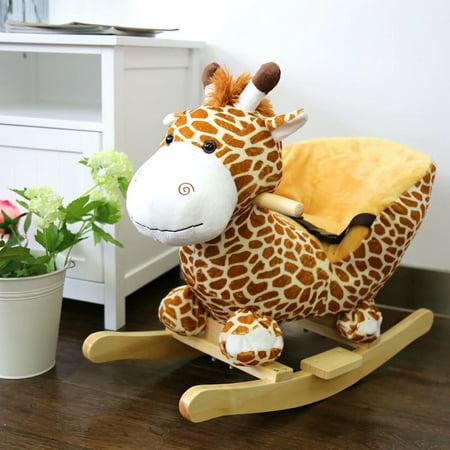 Kinbor Baby Kids Toy Plush Rocking Horse Little Giraffe Theme Style Riding Rocker with Sound, Seat belts - Horse Racing Toy