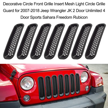 7PCS Decorative Circle Front Grille Insert Mesh Light Circle Grille Guard for 2007-2018 Jeep Wrangler JK 2 Door Unlimited 4 Door Sports Sahara Freedom Rubicon - image 6 of 7