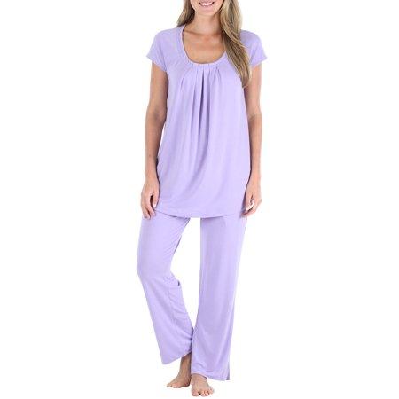 PajamaMania Women's Sleepwear Short Sleeve Pajamas PJ Set Top Cotton Knit Loungewear