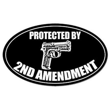 BLACK OVAL Protected by 2nd Amendment Sticker Decal (gun caliber handgun carry) 3 x 5 inch (2nd Amendment Bumper Sticker)