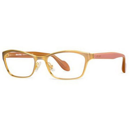 Miu MIu MU55LV-LAE1O1 Rectangular Women's Gold Frame Genuine Eyeglasses (White Eyeglass Frames For Men)