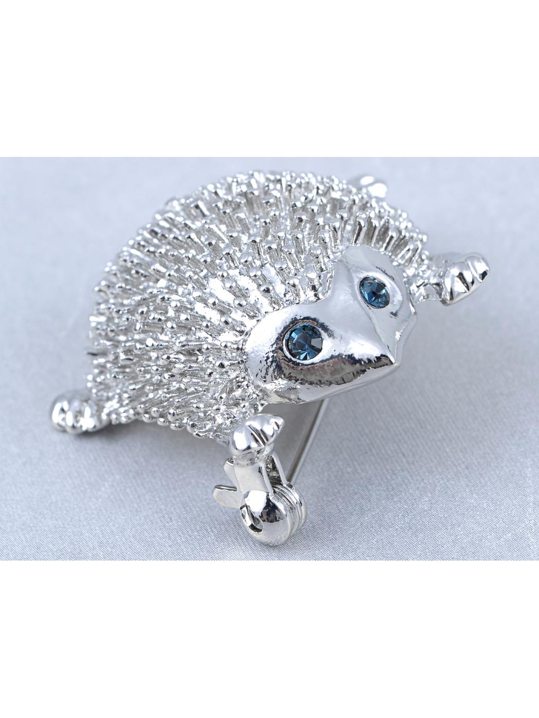 Tanzanite Sapphire Eyed Fluffy Silver Tone HedgeHog Animal Forest Pin Brooch by