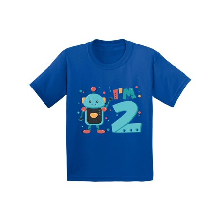 Awkward Styles 2nd Birthday Toddler Shirt Robot Birthday Shirt Gifts for 2 Year Old Second Birthday Shirt 2nd Year Old Shirt My 2nd Birthday Gifts for Birthday Boy Birthday (My 7 Year Old Won T Sleep Alone)