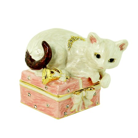 - White Cat on Gift Box Trinket Box