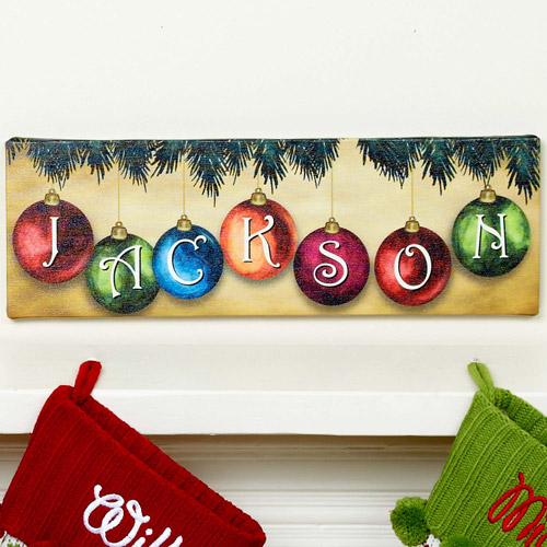 Personalized Christmas Ornament Canvas Wall Decor