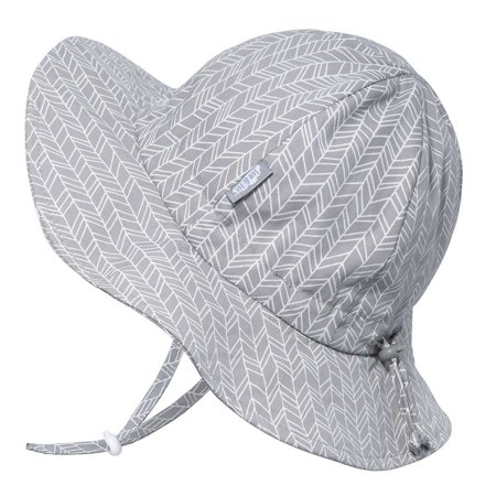 Baby Unisex Cotton Sun Hat 50 UPF, Adjustable Good Fit, Stay-on Tie (S: 0 - 6m, Grey