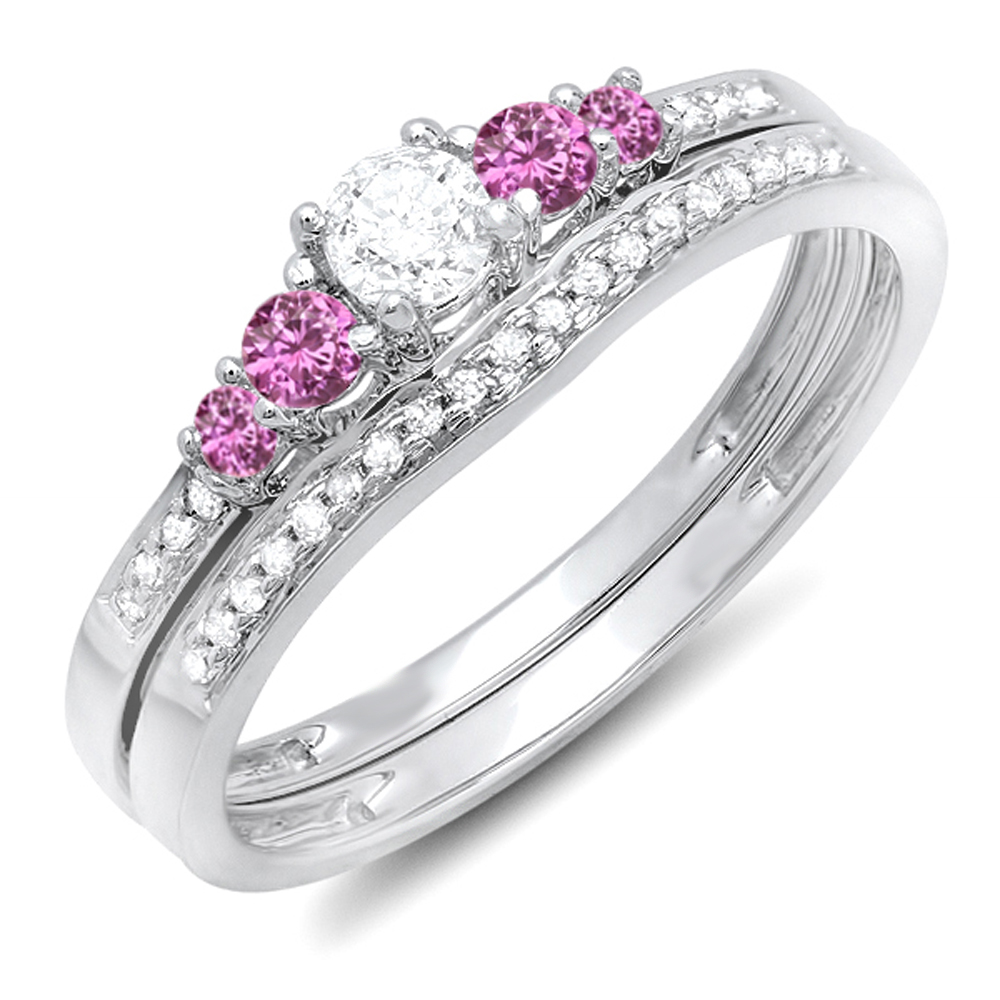 10K White Gold Round Pink Sapphire And White Diamond 5 Stone Bridal Engagement Ring Matching Band Set by DazzlingRock