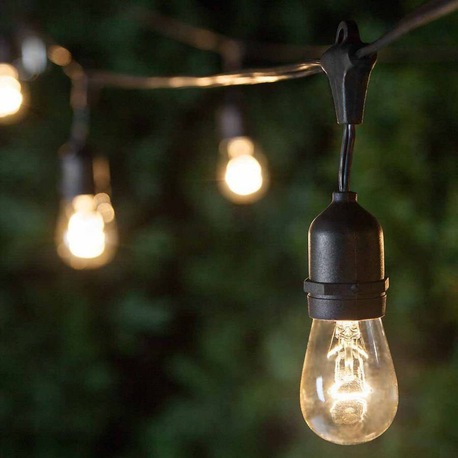 Brightech Ambience Pro Outdoor Weatherproof Commercial String Lights With  Hanging Sockets, Includes 11S14 Incadescent Bulbs   Walmart.com