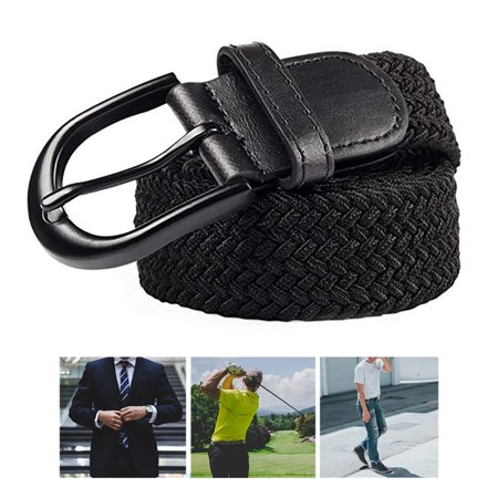 Men's Elastic Stretch Belt Leather Buckle Casual Formal Dress Golf Belt