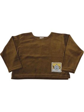 Mulberribush Toddler Girls Long Sleeve Velour Shirt Top, 8030 Brown Teapot / 6/6X