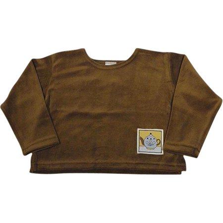 605f444e5 Mulberribush Toddler Girls Long Sleeve Velour Shirt Top, 8030 Brown Teapot  / 4/5