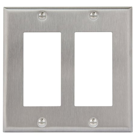 Enerlites 7732 2 Gang Stainless Steel Wall Plate for Decorator Switch, Outlet, GFCI Device (2 Outlet Gang Valve)