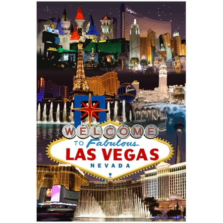 Las Vegas Casinos And Hotels Montage Poster - 13x19 - Halloween Shops Las Vegas
