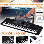 Digital Music Piano Keyboard 61 Key - Portable Electronic Musical Instrument Multi-function Keyboard and Microphone for Kids Piano Music Teaching Toys Birthday Christmas Day Gifts for Kids, ,(Black)