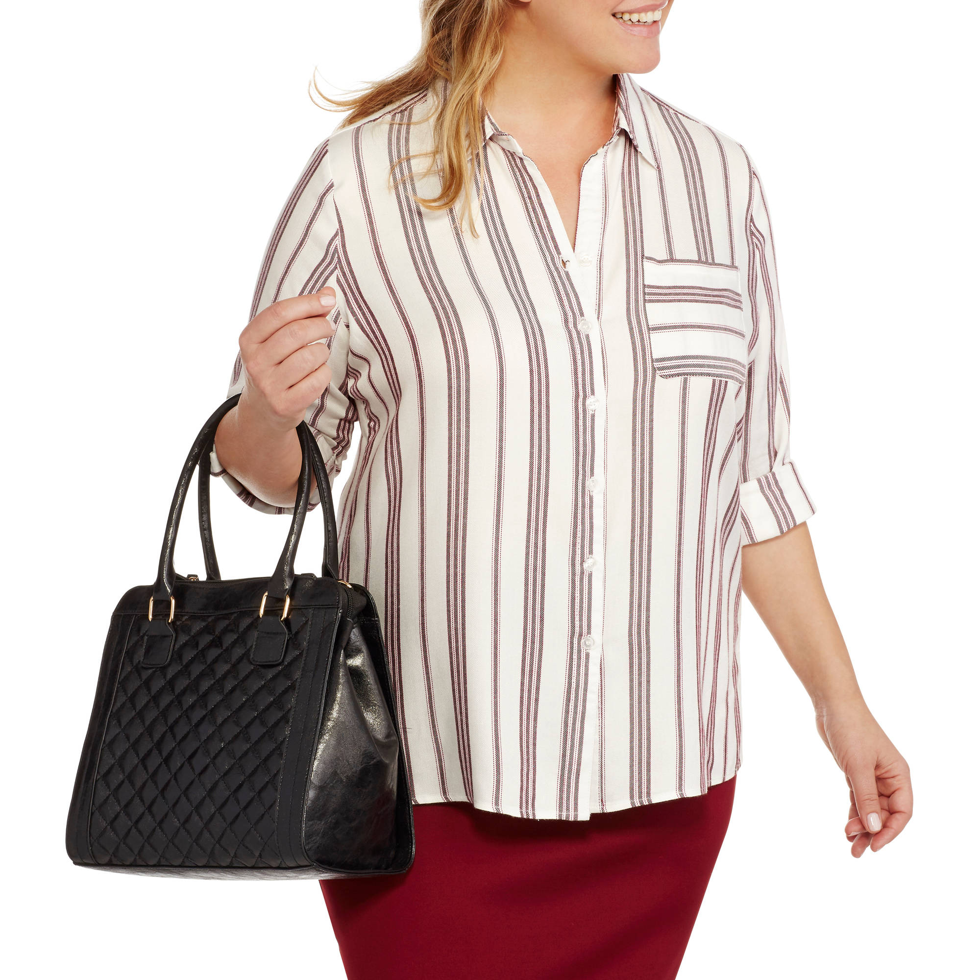 Heart and Crush Women's Plus Stripe Shirt with Side Slits