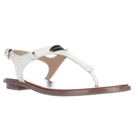 Michael Kors Womens Optic White Leather Plate Thong Sandal 8m