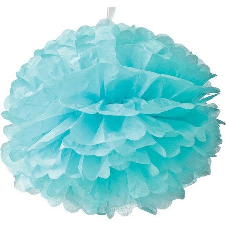 Baby Shower Hanging Decoration (Tissue Paper Pom Pom (15-Inch, Ice Blue) - For Baby Showers, Nurseries, and Parties - Hanging Paper Flower Decorations)