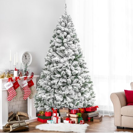 Best Choice Products 6ft Premium Snow Flocked Hinged Artificial Christmas Pine Tree Festive Holiday Decor w/ Sturdy Metal Stand - Green - Patriotic Christmas Tree