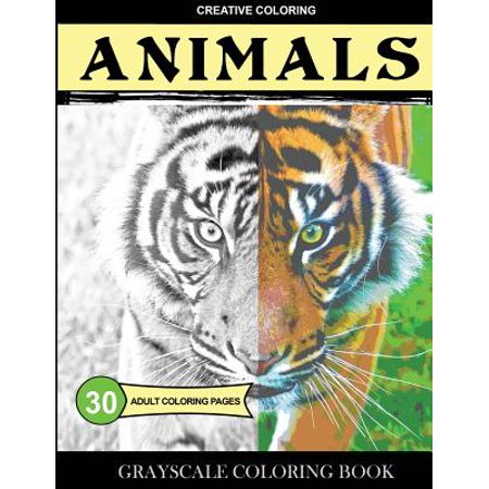 Grayscale Coloring Book : Animals: Adult Coloring Pages