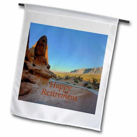 3dRose Happy Retirement on Photo of Desert Landscape Polyester 1'6'' x 1' Garden Flag ()