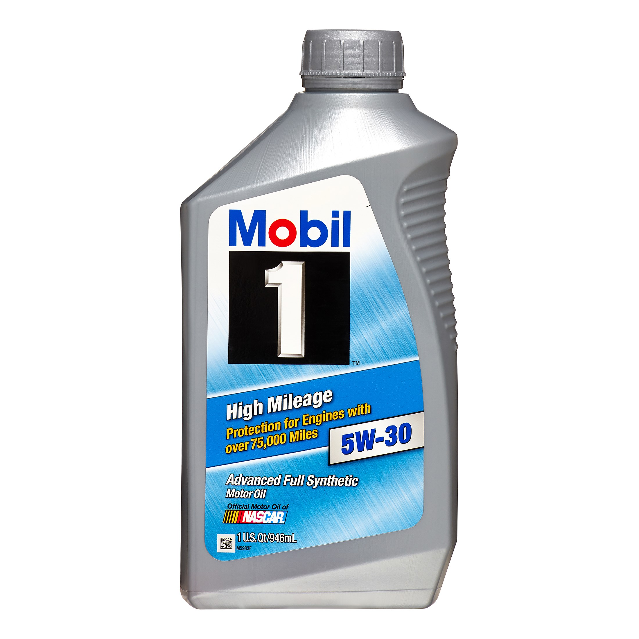 Mobil 1 5W-30 High Mileage Full Synthetic Motor Oil, 1 qt.